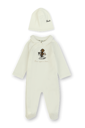 גילאי 1-3 חודשים סט לבן של אוברול ארוך עם דובי רקום וכובע גרב FENDI KIDS