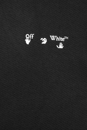 Logo Print Cotton Hoodie in Black OFF WHITE