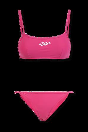 Logo Print Bikini Set In Pink OFF WHITE