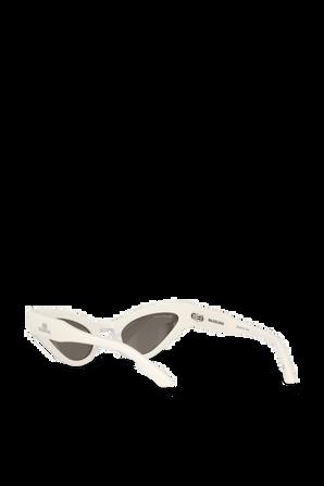 Cat Oval Logo Sunglasses in White BALENCIAGA
