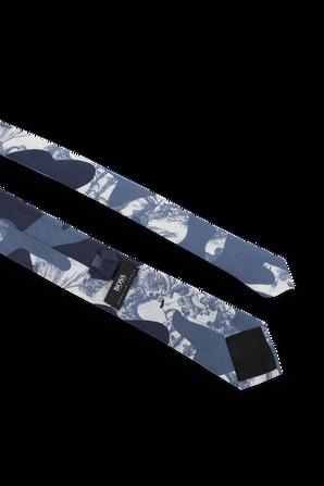 Ocean Print Silk Tie in Blue and White BOSS
