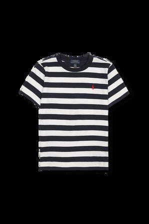 חולצת לוגו פסים בכחול ולבן POLO RALPH LAUREN KIDS