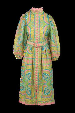 שמלת מידי אסטל עם הדפס פייזלי בגווני ורוד וירוק ZIMMERMANN