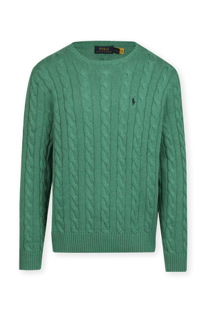 Cable-Knit Cotton Sweater in Green POLO RALPH LAUREN