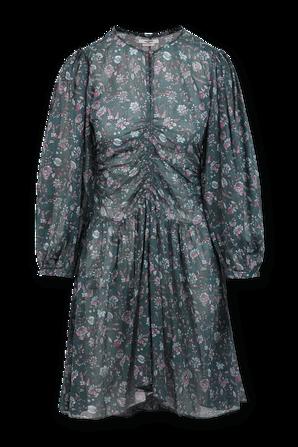 Marili Flower Print Mini Dress in Green and Pink ISABEL MARANT