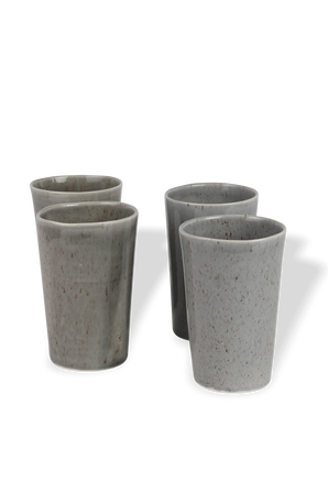 Doppio Set - 4 Tall Coffee Mugs in Grey MICHAL GELBARD