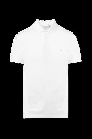 Logo Polo Shirt in White Pique CALVIN KLEIN