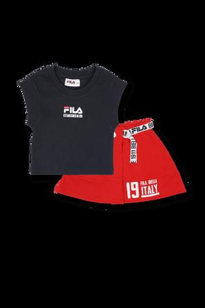 גילאי 6-16 סט חצאית וחולצת לוגו באדום ושחור FILA