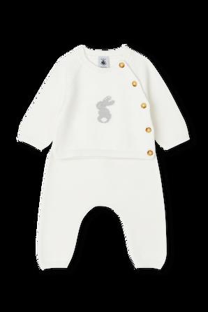גילאי NB-12 חודשים חליפה סרוגה בלבן PETIT BATEAU