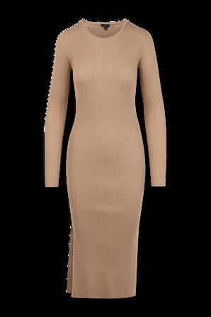 Merinos Ribbed Knit Midi Dress in Brown JOSEPH