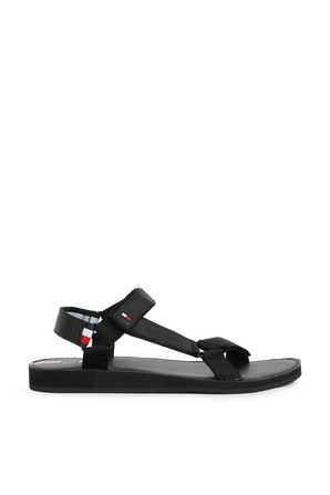 Strappy Leather Sandals in Black TOMMY HILFIGER