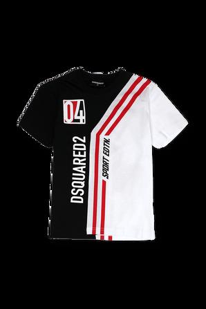 גילאי 4-16 טי שירט קצרה בשחור אדום ולבן הדפס ממותג ספורטיבי DSQUARED2 KIDS