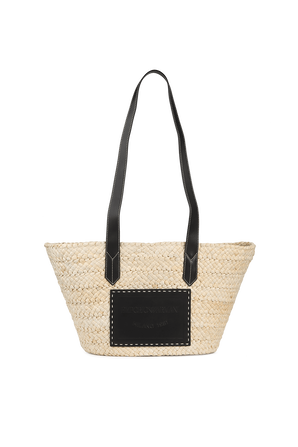 Large Straw Shopping Bag with Black EMPORIO ARMANI