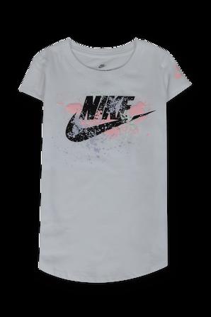 גילאי 4-6 טי שירט לבנה הדפס לוגו עם כתמי צבע NIKE