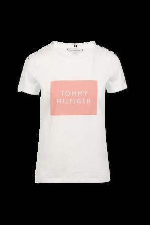 Box Logo Crew Neck T-Shirt in White TOMMY HILFIGER
