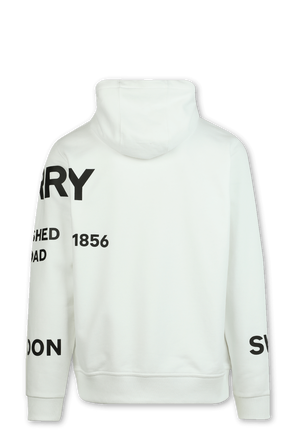 Horseferry Print Cotton Oversized Hoodie in White BURBERRY