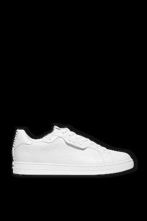 Keating Pebbled Leather Sneaker in White MICHAEL KORS