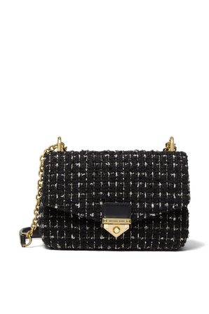Soho SM Tweed Shoulder Bag in Black MICHAEL KORS
