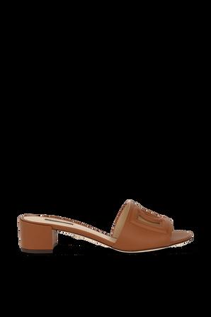Logo Front Heeled Slides in Brown Leather DOLCE & GABBANA