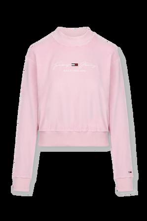 Tjw Velour Sweatshirt in Pastel Pink TOMMY HILFIGER