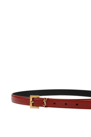 Monogram Thin Belt in Red Leather and Gold SAINT LAURENT