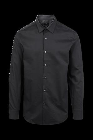 Slim Fit Micro Dot Shirt in Black BOSS