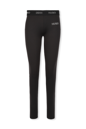 Slim-Fit Trousers With 3D Logo in Black HUGO