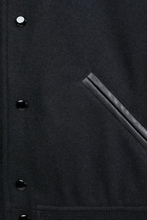 Varsity Jacket in Black Wool SAINT LAURENT