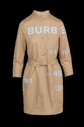 Tie Waist Mini Shirt Dress in Brown BURBERRY