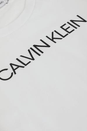 גילאי 4-16 חולצת טי לבנה עם שרוולים ארוכים CALVIN KLEIN
