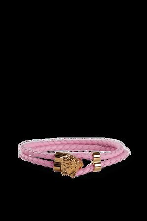 Medusa Leather Bracelet in Pink VERSACE