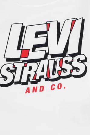 גילאי 2-4 חולצה ארוכה עם כיתוב ממותג בגווני לבן שחור ואדום LEVI`S KIDS