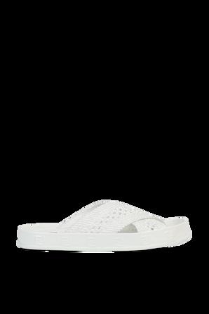 Woven FF Sandals in White FENDI
