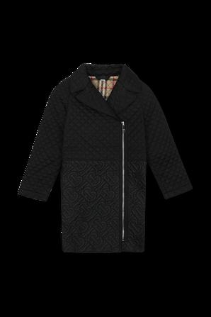 גילאי 3-14 מעיל ארוך שחור עם בטנת משבצות BURBERRY