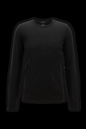 Black Crew Neck Sweater in Virgin Wool BOSS