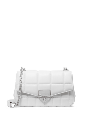 Soho LG Quilted Leather Shoulder Bag in White MICHAEL KORS