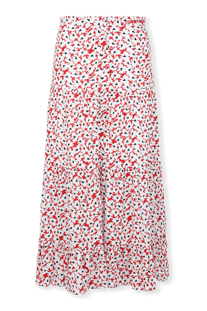 Floral Camo Midi Skirt in Red and White TOMMY HILFIGER
