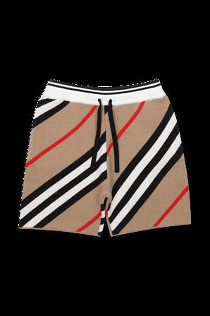 גילאי 3-14 מכנסי אריג קצרים דוגמת פסים אלכסונית BURBERRY