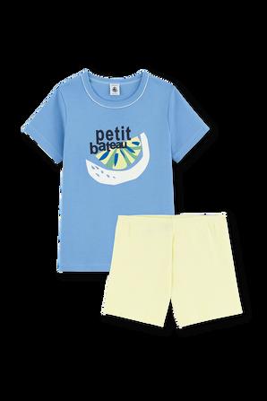 גילאי 6-12 סט פיג'מה קצר עם לוגו PETIT BATEAU