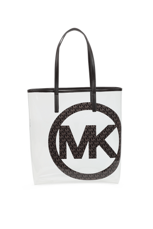  Logo Charm Clear Tote Bag in White and Black MICHAEL KORS