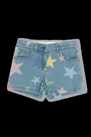 גילאי 2-14 מכנסי דנים קצרים עם כוכבים צבעוניים STELLA McCARTNEY KIDS
