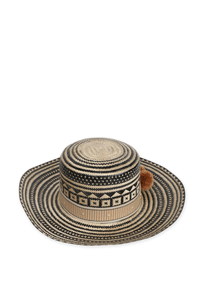 Straw Hat in Black Orange and White YOSUZI