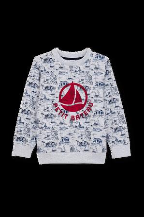 גילאי 6-12 סווטשירט לוגו עם פרינט סירות PETIT BATEAU
