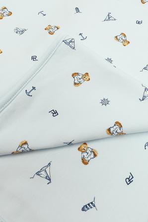 שמיכה כחולה לתינוקות עם הדפסים POLO RALPH LAUREN KIDS