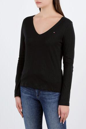 Long Sleeve V-Neck T-Shirt in Black TOMMY HILFIGER
