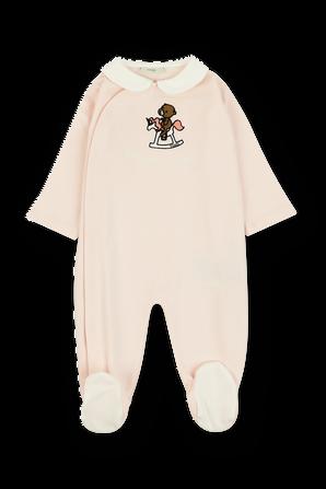 גילאי 1-3 חודשים סט ורוד של אוברול ארוך עם דובי רקום וכובע גרב FENDI KIDS