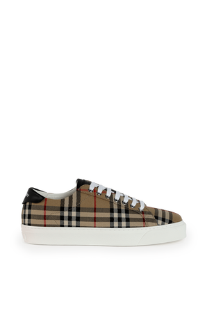 Vintage Check and Leather Sneakers BURBERRY