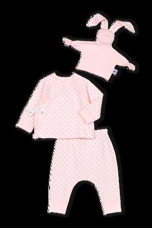 גילאי 1-12 חודשים מארז שלושה חלקים בגוון ורוד עם נקודות PETIT BATEAU