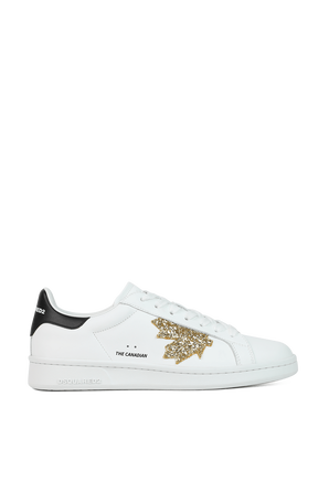 Boxer Gold Maple Sneakers in White DSQUARED2