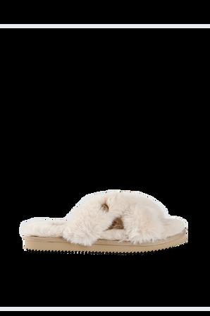 Lala Faux Fur Slide Sandal in Camel MICHAEL KORS